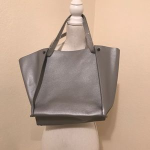 Neiman Marcus Bags - Neiman Marcus Silver/Pewter Lg Tote